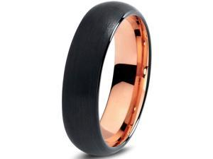 Tungsten Wedding Band Ring 6mm for Men Women Black & 18K Rose Gold Plated Domed Brushed Polished Lifetime Guarantee