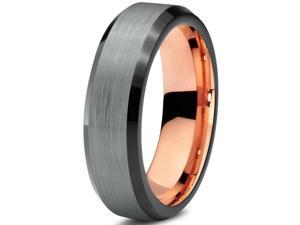 Tungsten Wedding Band Ring 6mm for Men Women Black & 18K Rose Gold Plated Beveled Edge Brushed Polished Lifetime Guarantee