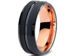 Tungsten Wedding Band Ring 8mm for Men Women Black & 18K Rose Gold Plated Beveled Edge Brushed Polished Lifetime Guarantee