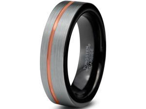 Tungsten Wedding Band Ring 4mm for Men Women Black & 18K Rose Gold Plated Offset Line Pipe Cut Brushed Polished Lifetime Guarantee