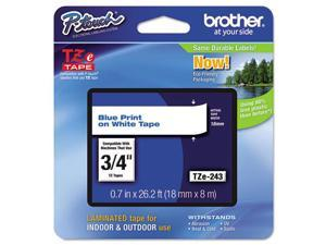 "Brother 18mm (3/4"") Blue on White Laminated Tape (8m/26.2') (1/Pkg)"