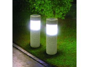 2 Solar Pillar LED Pathway Lights Path Stone Look Yard Garden Landscape Sidewalk