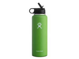 Hydro Flask 40 oz Double Wall Vacuum Insulated Stainless Steel Wide Mouth Water Bottle with Straw Lid, Kiwi
