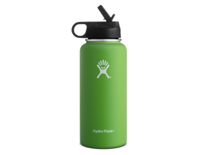 Hydro Flask 32 oz Double Wall Vacuum Insulated Stainless Steel Wide Mouth Water Bottle with Straw Lid, Kiwi