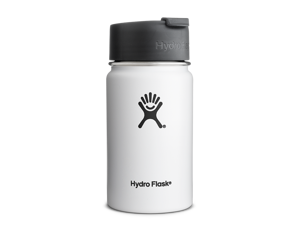 Hydro Flask 12 oz Vacuum Insulated Stainless Steel Water Bottle, Wide Mouth w/Hydro Flip Cap, White
