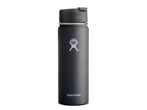 Hydro Flask 20 oz Vacuum Insulated Stainless Steel Water Bottle, Wide Mouth w/Hydro Flip Cap, Black