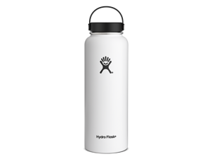 Hydro Flask 40 oz Vacuum Insulated Stainless Steel Water Bottle, Wide Mouth w/Flex Cap, White