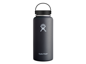 Hydro Flask 32 oz Vacuum Insulated Stainless Steel Water Bottle, Wide Mouth w/Flex Cap, Black