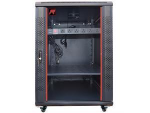 "18U Server Rack Cabinet Enclosure. Fully Equipped. ACCESSORIES FREE! Vented Shelf, LED , Cooling Fan, 6-Way PDU, Hardware, Casters. Wall Mount 24"" Deep Closed Lockable Server Network IT 19"" Enclosure"