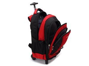 18-Inch Wheeled Backpack High Capacity Lightweight Rolling Laptop Computer Backpack, Red