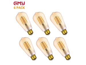 Vintage LED Edison Bulb Dimmable -  Antique Amber LED Filament Light Bulb  4.5W ST19 - 40W Equivalent E26 2200K Amber Glass Warm White (6 PACK)