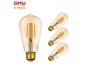 Vintage LED Edison Bulb -  Amber LED Light Bulb Dimmable ST19 4.5W - 40W Equivalent E26 2200K Warm White from GMY Lighting (4 PACK)
