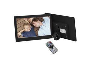 "10.1"" Inch 1024x600 HDMI Metal LED Digital Photo Frame with 16GB Memory IR Remoter & Power Adapter Matching Holder MP4 Player Play Music Video Picture Alarm Clock Calender Remote Control Black"