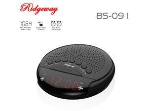Ridgeway BS-091 Clock Radio FM/AM Portable Radio With Clock & Dual Alarm & LED Display / 20 Stations (10 FM/10 AM) Built-in Antenna Color Black