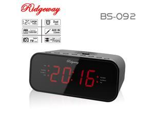Ridgeway BS-092 Clock Radio FM/AM Portable Radio With Clock & Dual Alarm & LED Display / 20 Stations (10 FM/10 AM) Built-in Antenna Color Black