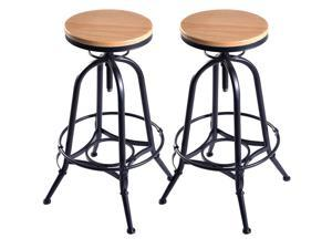 Vintage Bar Stools Industrial Metal Design Wood Top Adjustable Swivel- Set of 2