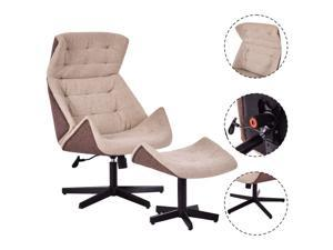 Executive Recliner Chair Lounge Leisure Chair Adjustable Height Swivel w/Ottoman
