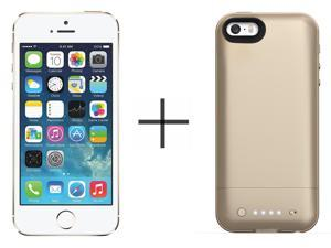 Apple iPhone 5s 16GB Unlocked GSM 4G LTE Dual-Core Phone w/ 8MP Camera - Gold + Mophie Juice Pack Air for iPhone 2108 (Gold)
