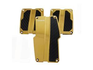 NRG Innovations PDL-100CG Brushed Aluminum Sport Pedal Chrome Gold with Black Carbon MT