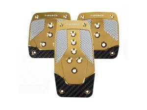 NRG Innovations PDL-400CG Aluminum Sport Pedal Chrome Gold with Black Carbon MT