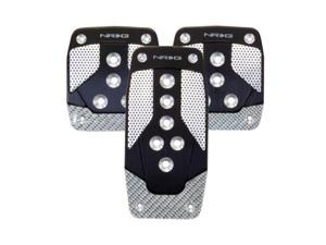 NRG Innovations PDL-400BK Aluminum Sport Pedal Black with Silver Carbon MT