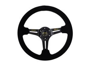 NRG Innovations ST-018S-RL 3 in. Deep Premium Suede Sport Steering Wheel with Gold Stitching & Brush Reinforced Aluminum Spokes - 350 mm