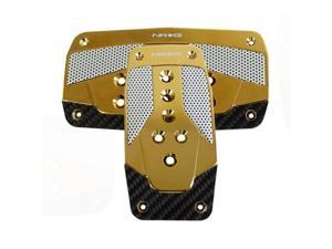 NRG Innovations PDL-450CG Aluminum Sport Pedal Red with Chrome Gold Carbon AT