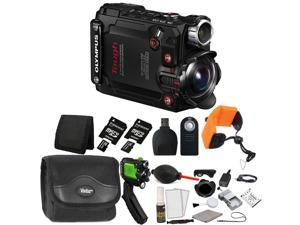 Olympus TG-Tracker Action Camera with 24GB Top Accessories - Black