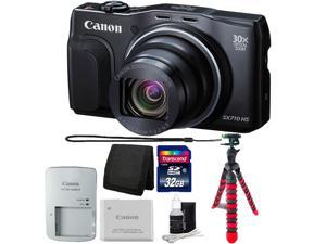 Canon PowerShot SX710 HS 20.3 MP Digital Camera Black with 32GB Memory Card, Wallet, 12 inch Flexible Tripod, 3pc Cleaning Kit