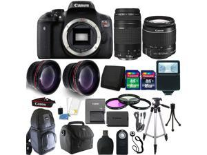 Canon EOS Rebel T6 DSLR Camera  + 18-55mm  + 75-300mm + 58mm Filter Kit + Wide Angle Lens + Telephoto Lens + 24GB Memory Card + Wallet + Reader + Slave Flash + Backpack + Gadget Bag + Remote + Tall Tr
