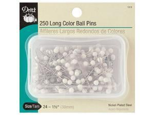 Long Color Ball Pins, Size 24, 250/pkg