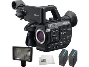 Sony PXW-FS5 XDCAM Super 35 Camera System 4PC Accessory Bundle. Includes 2 Replacement BPU90 Batteries + 160 LED Video Light + Microfiber Cleaning Cloth
