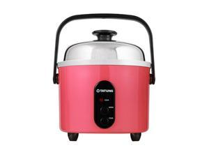 TATUNG Indirect Multi-Functional Mini Rice Cooker, Steamer and Warmer, Peach Red, 3-Cup uncooked/ 6-Cup cooked, TAC-3ASF-1