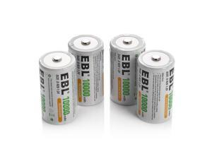 EBL 4 Pack Size D Battery 1.2V 10000mAh Ni-MH Rechargeable Batteries