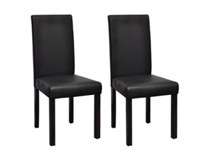 2 Modern Artificial Leather Wooden Dining Chair Black