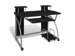 VidaXL Mobile Computer Desk Pull Out Tray Black Finish Furniture Office