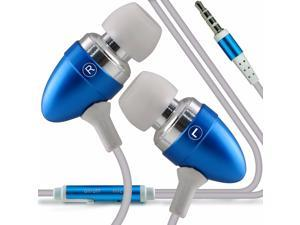 iTronixs - Alcatel One Touch Pop Astro Premium Quality Aluminium In Ear Earbud Stereo Hands Free Headphones Earphone Headset with Built in Microphone Mic & On-Off Button - Baby Blue