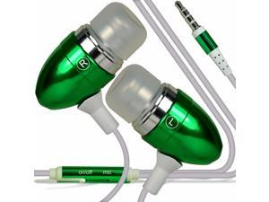 iTronixs - Alcatel One Touch Pop Astro Premium Quality Aluminium In Ear Earbud Stereo Hands Free Headphones Earphone Headset with Built in Microphone Mic & On-Off Button - Green