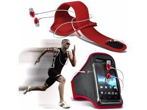 iTronixs - Alcatel One Touch Pop Astro Adjustable Sports Armband Case Cover For Running Jogging Cycling Gym with Premium Quality Aluminium In Ear Earbud Stereo Hands Free Earphone Headset - Red
