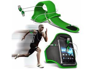 iTronixs - Alcatel One Touch Pop Astro Adjustable Sports Armband Case Cover For Running Jogging Cycling Gym with Premium Quality Aluminium In Ear Earbud Stereo Hands Free Earphone Headset - Green