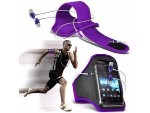 iTronixs - Alcatel One Touch Pop Astro Adjustable Sports Armband Case Cover For Running Jogging Cycling Gym with Premium Quality Aluminium In Ear Earbud Stereo Hands Free Earphone Headset - Purple