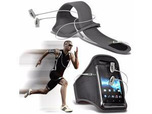 iTronixs - Alcatel One Touch Pop Astro Adjustable Sports Armband Case Cover For Running Jogging Cycling Gym with Premium Quality Aluminium In Ear Earbud Stereo Hands Free Earphone Headset - Grey