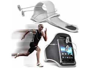 iTronixs - Alcatel One Touch Pop Astro Adjustable Sports Armband Case Cover For Running Jogging Cycling Gym with Premium Quality Aluminium In Ear Earbud Stereo Hands Free Earphone Headset - White