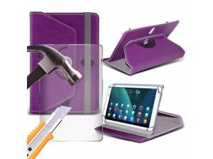 iTronixs - iBall Slide 4G Q27 (10.1 inch) Tablet Case PREMIUM PU 360 Rotating Leather Wallet Folio Faux 4 Springs Stand with Tempered Glass LCD Screen Protector Guard - Purple