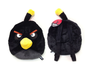 Angry  Birds 12 inch  backpack plush toy gift stuffed animal BLACK BOMB BIRD