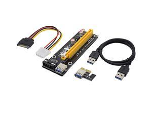 60cm PCI-E extender PCI Express Riser Card 1x to 16x USB 3.0 SATA to 4Pin IDE Molex Power for BTC Miner Machine