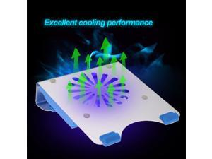 "Aluminum Laptop USB Cooler Pad Cooling Base Chill Mat Radiator with 140mm LED Fan for 7""-15.6"" Notebook laptop PC gamer"