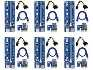 6Pack PCI-E Express USB3.0 1x to 16x Extender Riser Card Adapter 4 High Quality Solid Capacitor - GPU Riser Adapter - Ethereum Mining BTC ETH