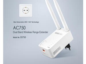 TOTOLINK EX750 AC750 Dual Band WiFi Range Extender with 1 LAN Port, Supports AP mode