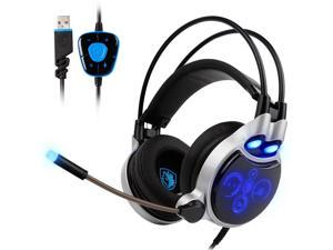 SADES R8 Gaming Headset Virtual 7.1 Channel Surround Sound USB PC Stereo Headphones with High Sensitivity Microphone LED Light